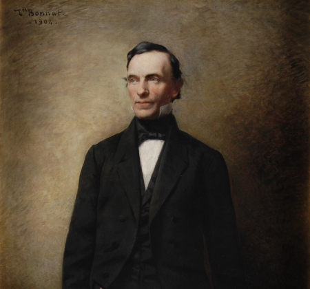 Painted portrait of Myron H. Clark.