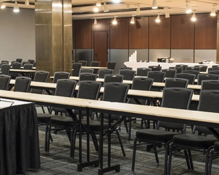 photo of a meeting rooms set up as a classroom