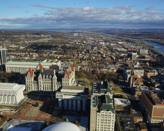 A view of the Albany skyline from the Corning Tower Observation deck