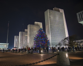 Holiday tree lighting at the empire state plaza