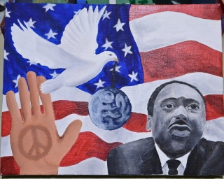 Student artwork showing Dr. King as a instrument for peaceful change.