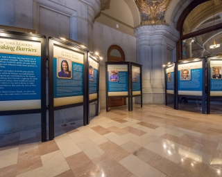 "A view of ""New York Leaders: Breaking Barriers"" exhibit in the New York State Capitol."