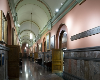 A view of the portraits hanging in the Hall of Governors.