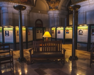 A view of the Women's History Month exhibit in the New York State Capitol.