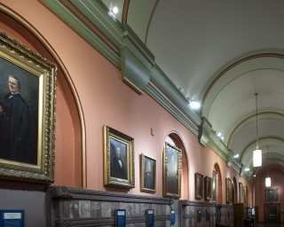 View of the Hall of Governors with portraits.