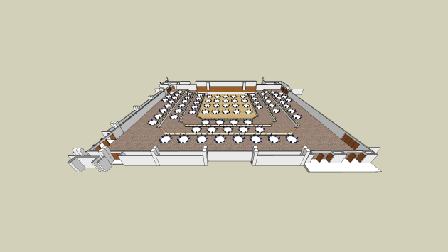 a rendering of the convention hall showing round dining tables set up as a sample configuration
