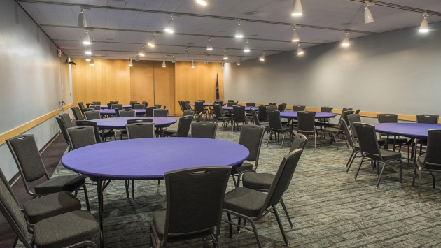 meeting room set up with round tables