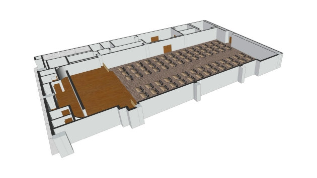 floor plan of meeting room 6 set up as a classroom with desks