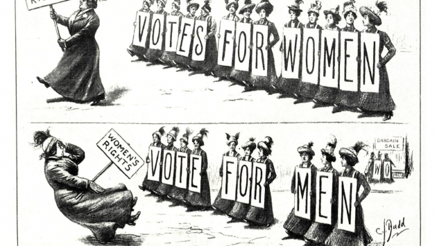 Anti-suffragette cartoon, Harper's Weekly, 1912.