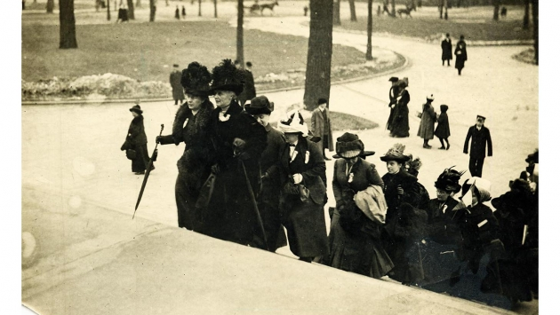 "Suffragettes climbing the steps of the NY State Capitol in March 1912. The Knickerbocker Press described an ""army of suffragists"" that stormed the building every year with petitions to legislators, some with lists so large they were carried in wheelbarrows."
