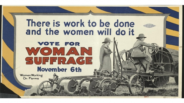 Pro-suffrage World War I poster.