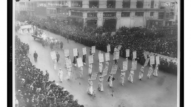 Suffragists marching in New York City in 1913.