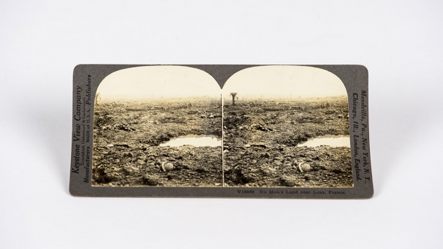 No Man's Land near Lens, France Stereograph Card - No Man's Land near Lens, France. No Man's Land was the area in between the opposing sides' trenches. Multiple members of the 369th fought in battle at No Man's Land.