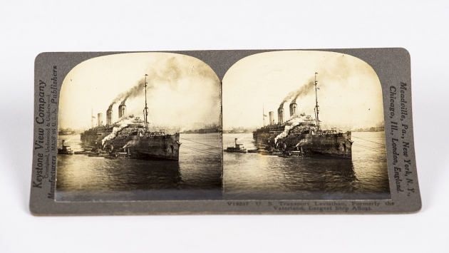 Stereograph Card - U.S. Transport Leviathan, Formerly the Vaterland.