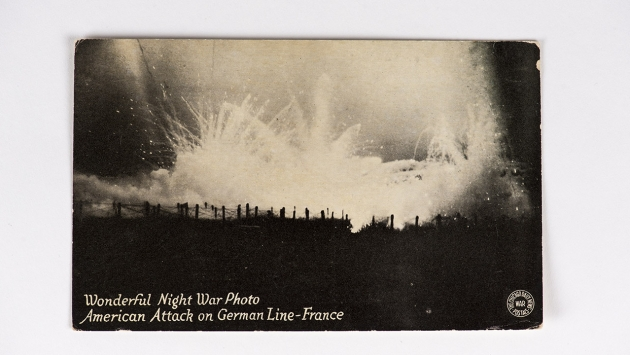 Wonderful night war photo. American attack on German line in France.