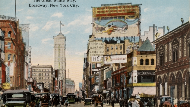 Historic postcard of Broadway in New York City.