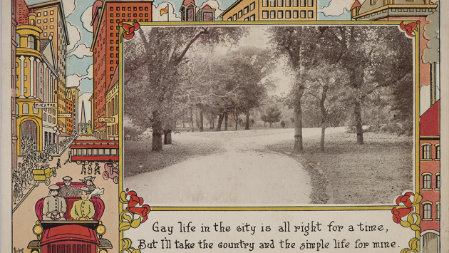 Historic postcard of New York City in Snow.