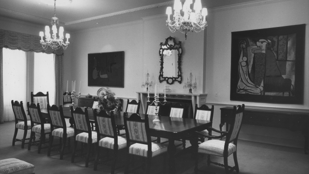 Executive Mansion dining room during Nelson Rockefeller's governorship 1959-1973.
