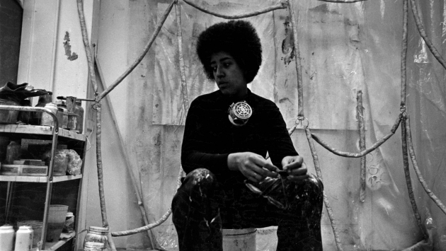 Howardena Pindell in her studio at Westbeth Artists Housing