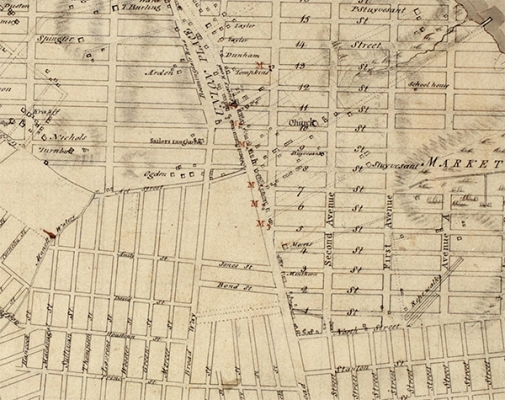 a map of the new york city grid from 1811 showing the intersection of old and new grid plans