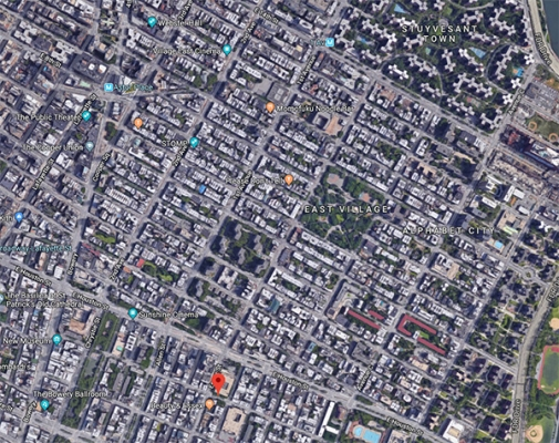a google maps aerial view of new york city showing how older and newer grid plans affected the layout of neighborhoods
