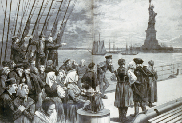 Engraving of immigrants on a ship arriving in New York harbor with the Statue of Liberty in the background.