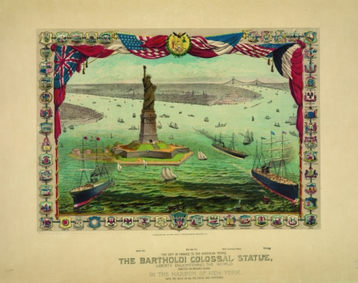 A lithograph created in 1884 depicts boats surrounding the Statue of Liberty in New York Harbor.
