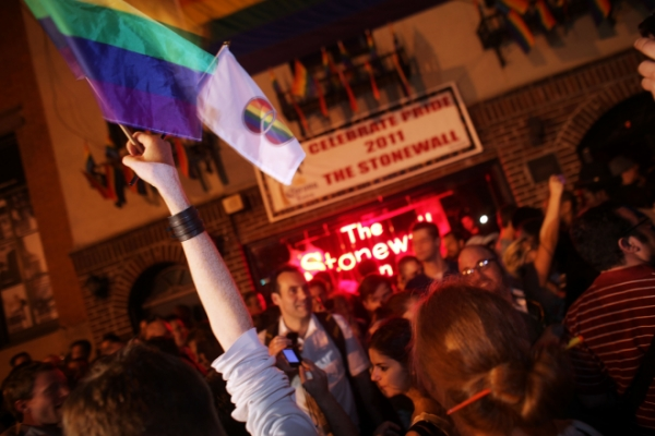 A spontaneous celebration outside the Stonewall Inn when marriage equality passed in New York State.