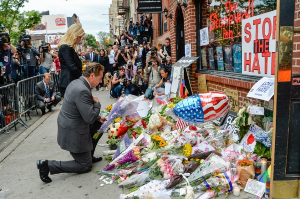 Governor Andrew M. Cuomo at the Stonewall Inn during the aftermath of the Pulse Nightclub shooting in Orlando.