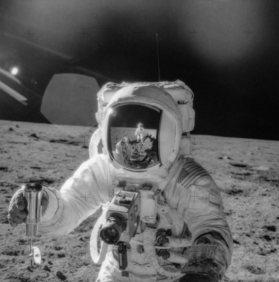 Man on the moon from 1969 moon landing mission.