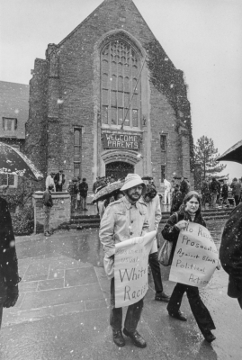 SDS students protesting outside Willard Straight Hall in the snow, April 19, 1969
