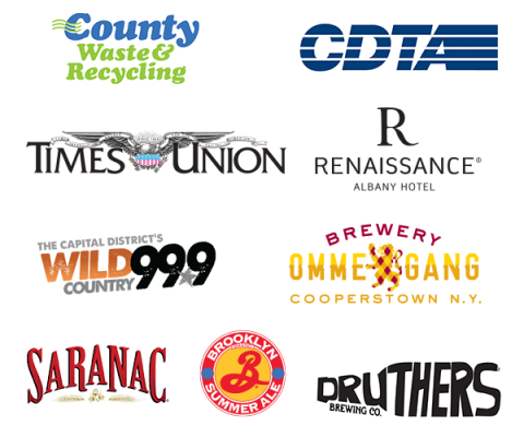 Eric Paslay Sponsor Logos Including County Waste, CDTA, Times Union, Renaissance Albany Hotel, Wild 99.9, Ommegang Brewery, Saranac, Brooklyn Brewery, Druthers