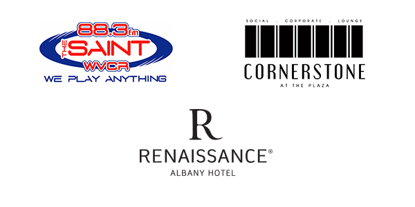 Jazz on the Plaza Sponsor Logos Including 88.8 The Saint, Cornerstone at the Plaza, and Renaissance Albany Hotel