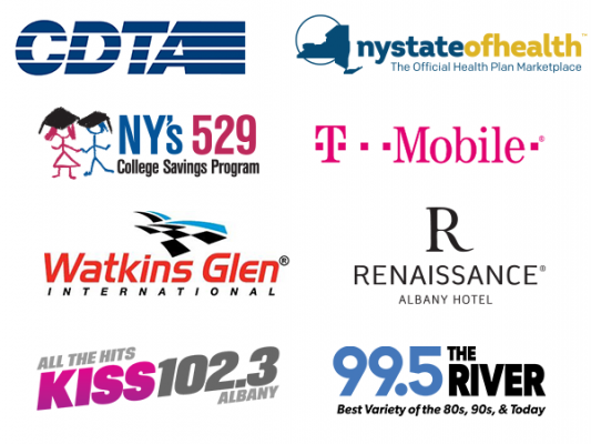 Kids Day Sponsor Logos Including CDTA, NY State of Health, NY's 529, T-Mobile, Watkins Glen, Renaissance Albany Hotel, Kiss 102.3, and 99.5 The River