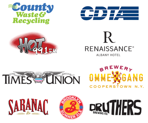 Stephen Marley Sponsor Logos Including Country Waste, CDTA, Hot 99.1, Renaissance Albany Hotel, Times Union, Ommegang Brewery, Saranac, Brooklyn Brewing, Druthers