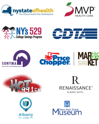Hispanic Heritage Celebration 2019 Sponsor Logos Including: New York State of Health, MVP Health Care, NY's 529 College Savings Program, CDTA, SONYMA, Renaissance Albany Hotel, Price Chopper and Market 32, Hot 99.1, Albany.com, and New York State Museum
