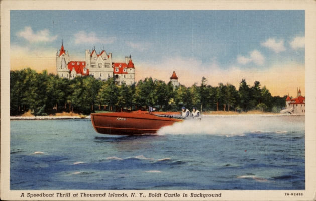 Historic postcard of speedboat on the St. Lawrence with Boldt Castle in the background.