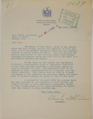 Letter from Governor Charles Whitman, 1915.