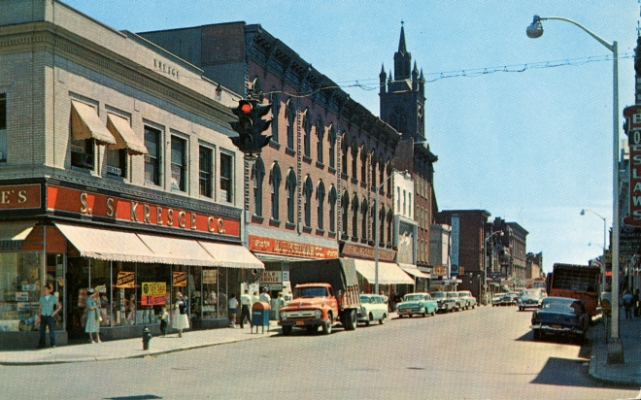 Historic postcard of Cohoes, NY, 1950s.