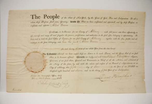 Appointment Letter Signed by Governor Daniel D. Tompkins, 1811