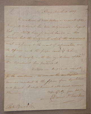 Letter from Governor Daniel D. Tompkins to Robert Brent, Esquire, March 11, 1809