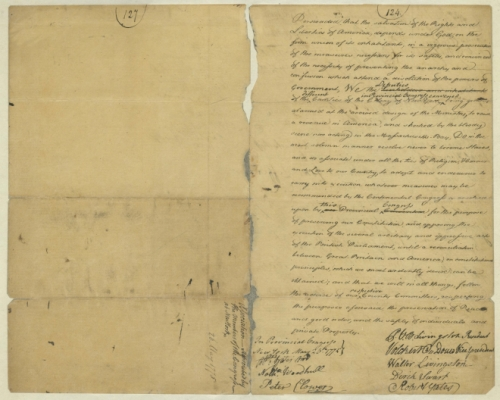 The General Association Declaration, May 1775 Page 1