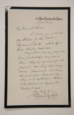 Thank you note from Hamilton Fish, 1891.