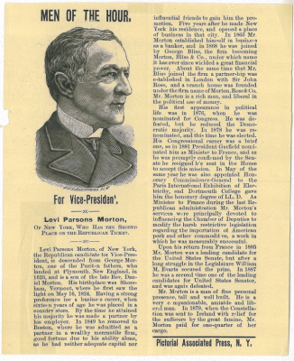 Campaign flyer for Levi Morton, 1888