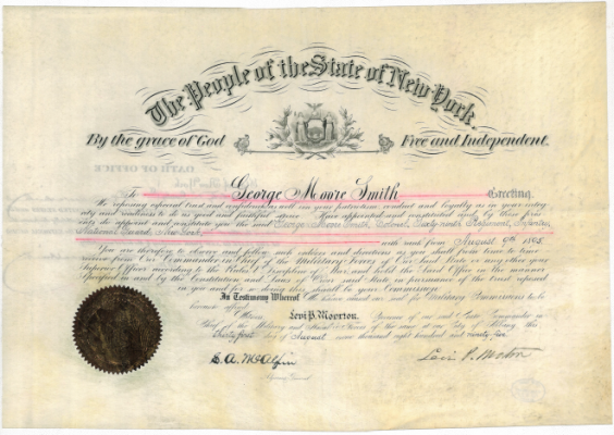Certificate of Appointment of George Moore Smith Signed by Governor Levi P. Morton August 31, 1895