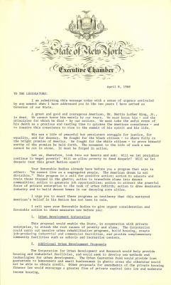 Message to the Legislature on the assassination of Martin Luther King, Jr., 1968.