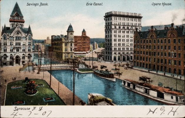 Historic postcard of Syracuse downtown with canal.