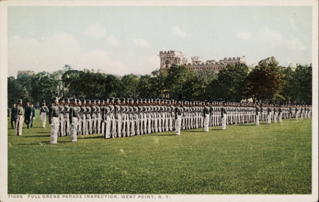 Historic postcard of West Point cadets.