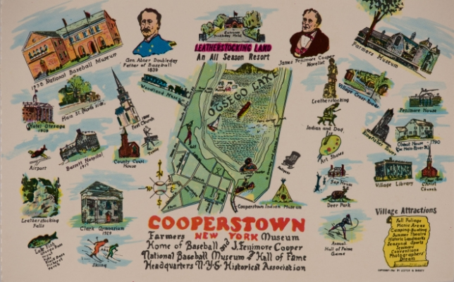 Historic postcard of Cooperstown, NY.