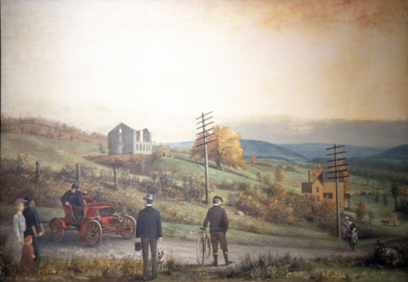 Old & New on East Seneca Turnpike in 1903 Painting
